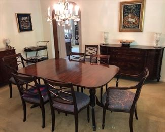 Vintage Duncan Pfyfe  style Cherry wood dining table, chairs & sideboards