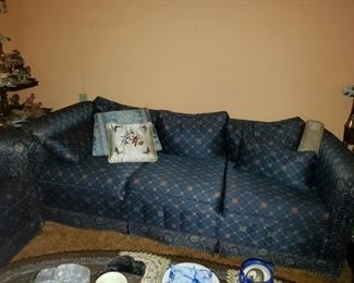"""Delicate couch and chair with lovely oriental inspired fabric.  Couch 84"""" x 34"""""""