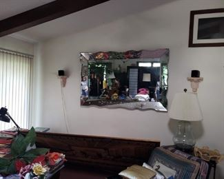"""Amazing large etched mirror is a real show stopper. 66"""" x 40"""""""