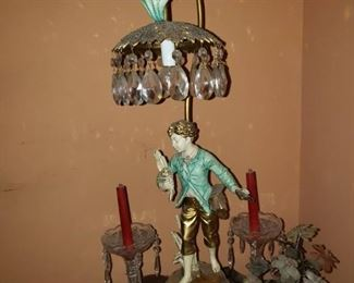 Little boy metal lamp with crystal drops
