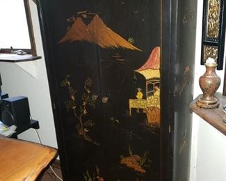 """Chinese black lacquered cabinet. 40"""" x 24"""" x 18"""""""