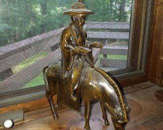 Bronze peasant on horse.  Broken ear but still quite nice.