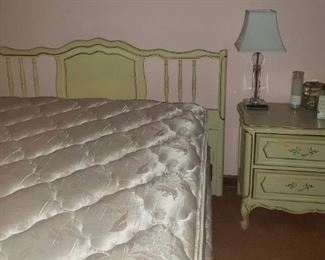 Sweet painted full size headboard and matching bedside table