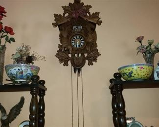Vintage German Cuckoo Clock.  Looks to be in pretty good condition though not perfect.  Notice marking on the side.
