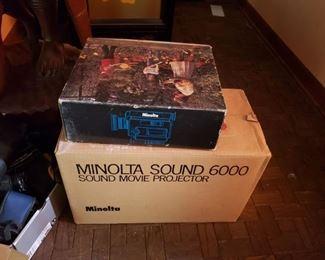 Amazing vintage Minolta video camera and reel to reel movie projector