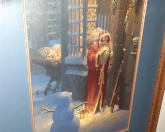 Signed and numbered Bradley Parish Christmas print Old Saint Nick