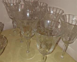 Etched floral Crystal wine goblets
