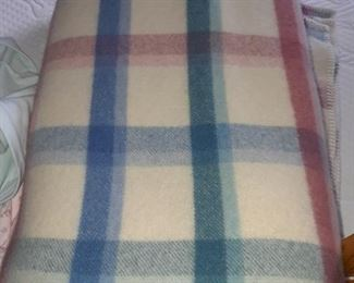 Wool blankets and other bed linens, bathroom towels hand towels, sheet sets, quilts