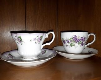 Large collection of violet teacups porcelain and glass