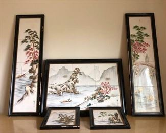 Vintage Framed Asian Tile Art https://ctbids.com/#!/description/share/199369