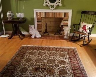 ORIENTAL RUG AND CARVED MIRROR