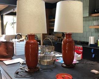 Oversized orange ginger jar lamps
