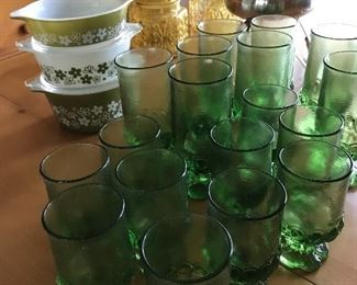 "Large set of vintage Franciscan Ware ""Madiera "" green footed goblets"