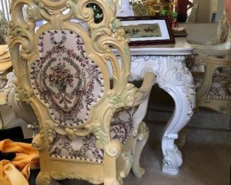 Beautiful antique carved dining set. Bring help to move this beauty!