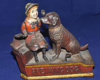 "Antique ""Speaking Dog"" iron bank"