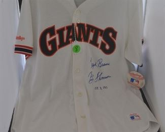 "Autographed Giants jersey ""Ralph Branch & Bobby Thomson"