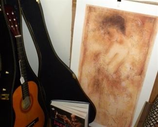 GUITAR AND LITHO BY ARTIST JANET TREBY