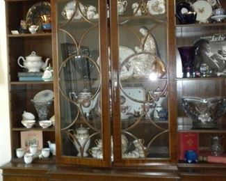 ANTIQUE CHINA CABINET AND CHINA