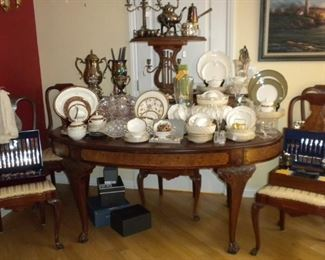 ANTIQUE DINING SET AND CHINA