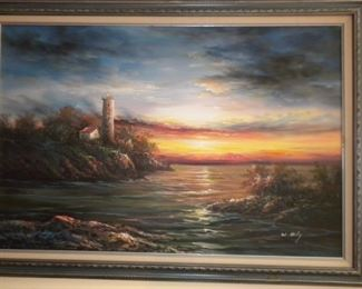 ARTIST W. RILEY OIL PAINTING