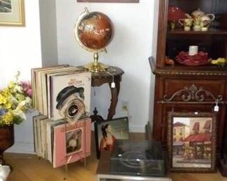 RECORDS AND VINTAGE RECORD PLAYER