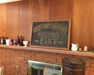 Farmers & Merchants National Bank bronze and brass sign