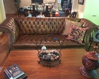Beautiful tufted leather sofa