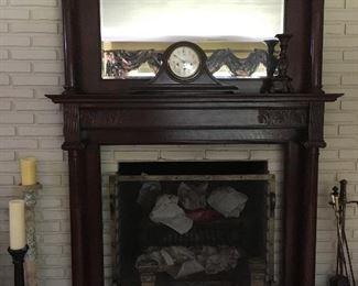 Amazing Antique solid Walnut fireplace surround.