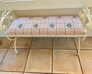 Upholstered painted iron bench