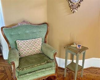 Velvet wing chair with fringe detail.  Wait for it......