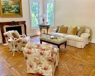 "Club Chairs, Sofa and Upholstered sofa table ""Kellogg Collection"""
