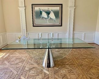 "Stunning chrome and lucite base, glass topped dining table.  4'6"" wide x 8' 6"" long."