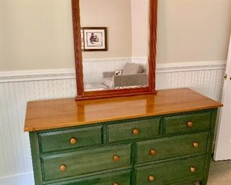 Ethan Allen solid wood double dresser and mirror.