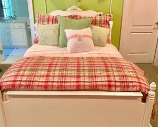 White double bed, custom bed linens and pillows.  Light fixtures Not for Sale.