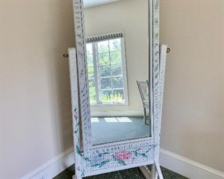 Painted wicker standing mirror.