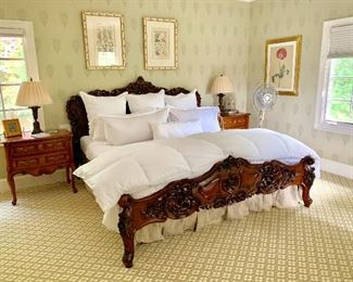 Kellogg Collection bedroom.  Carved King Bed.   Hickory Chair side tables.