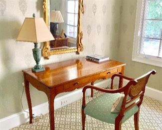 Ladies writing desk, chair, lamp and mirror from Kellogg Collection.