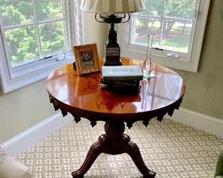 Maitland Smith round pedestal side table.