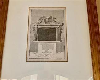 Framed architectural prints