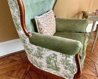 and toile upholstered back