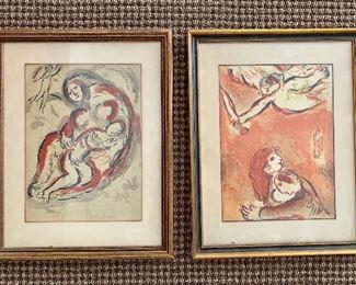 Marc Chagall framed lithographs.  Biblical series (1958-1962)