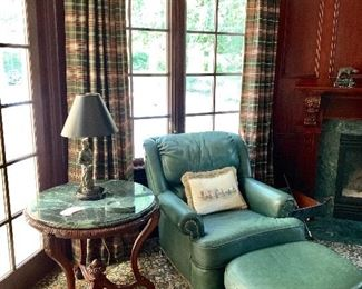 Leather chair and ottoman, marble topped round table.  Ralph Lauren drapery panels (2 of 4 shown).  Drapery hardware not for sale.