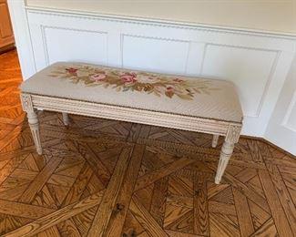 Needlework upholstered bench