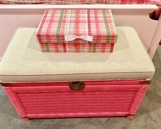 Pink wicker bench/storage piece
