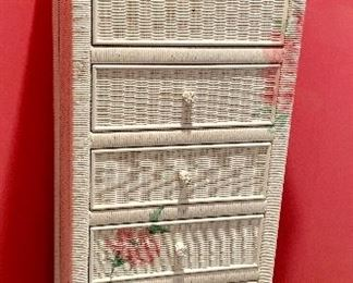 Tall painted wicker chest of drawers