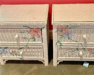 Twin wicker painted side tables