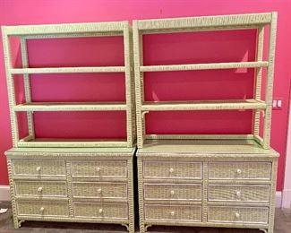 Twin wicker dresser/shelves