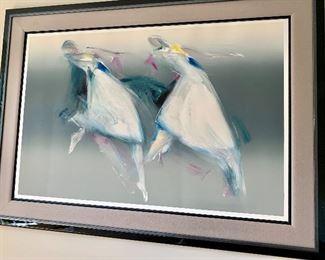 "Framed Jean Richardson monotype.  Art approximately 60"" x 30""."