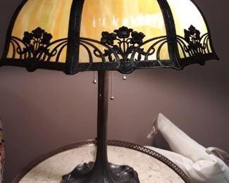 Slag glass antique lamp.