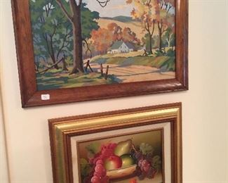 Paint by numbers scene and original still life.